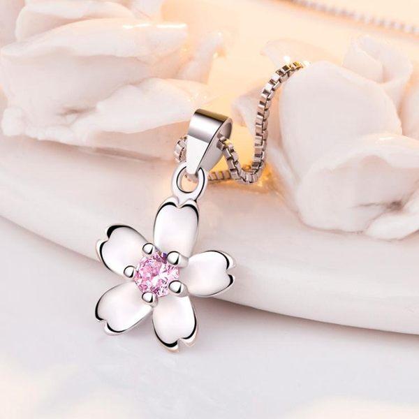 創意玫瑰花 甜美日韓櫻花粉鑽鍍銀女項鍊吊墜《小師妹》ps104