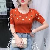 針織衫 刺繡冰絲女2020夏季新款韓版修身顯瘦時尚百搭薄款半袖上衣 OO12668『黑色妹妹』