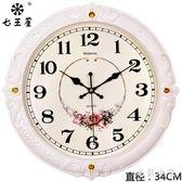 鐘表掛鐘客廳歐式時尚圓形大氣創意電子石英鐘家用靜音時鐘掛表CC3544『毛菇小象』