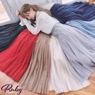裙子 魚尾網紗鬆緊紗裙長裙-Ruby s 露比午茶