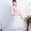 短袖裙裝 中國風文藝復古中式改良漢服茶服...