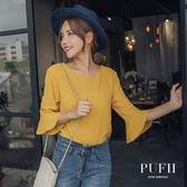 (現貨)PUFII-雪紡上衣 V領雙條鏤空喇叭袖雪紡上衣 3色 0823 現+預 秋【CP15034】