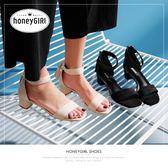 涼鞋 夏季女鞋優雅流蘇涼鞋女粗跟中跟露趾一字帶高跟鞋