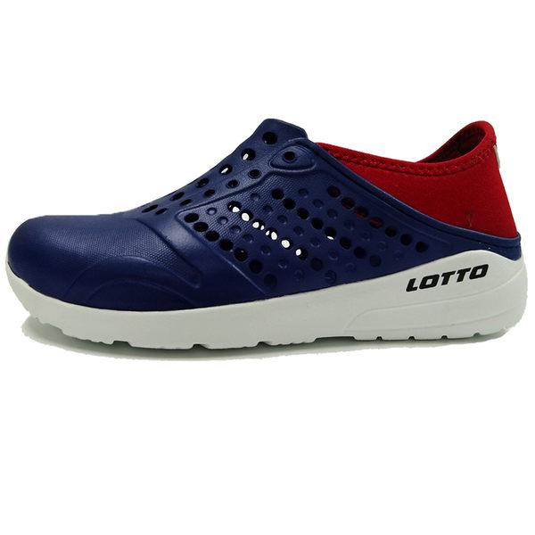Lotto 樂得 童鞋 深藍 紅 世足賽 荷蘭隊 水鞋 洞洞鞋 輕便防水透氣 走路鞋 懶人鞋 洞洞拖鞋 LT8AKS6766
