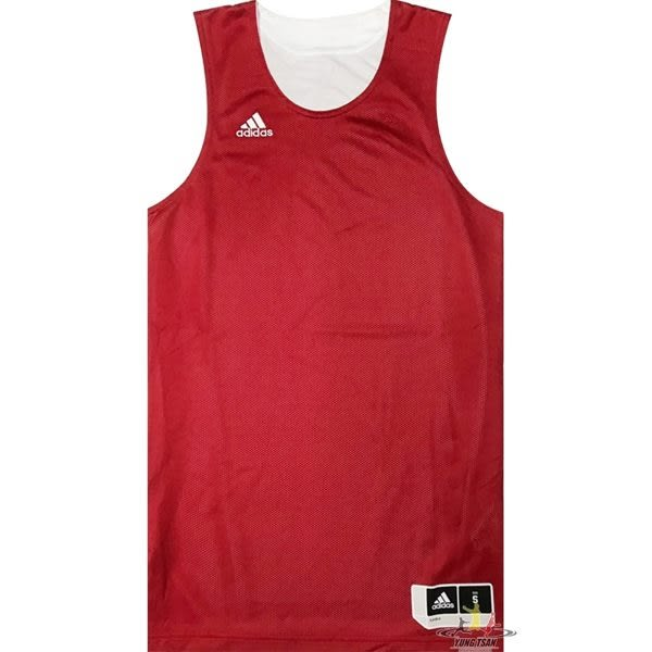 Adidas 愛迪達 球衣 紅 白 雙面穿團體籃球服 球衣 透氣 上衣 刺繡 無袖 背心 t恤 CD8687