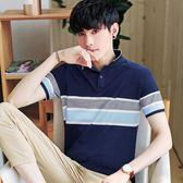 polo衫 夏季男士短袖t恤男裝韓版polo衫純棉半袖翻領體恤潮流修身上衣男 米蘭街頭