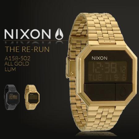 NIXON THE RE-RUN 美式休閒黑金不銹鋼帶手錶 A158-502 現貨 熱賣中!
