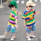 男童套裝 童裝男童男孩夏裝套裝新款夏款洋氣帥氣運動短袖韓版大兒童潮 韓菲兒