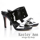 Keeley Ann 簡約摩登~真皮粗帶高跟細跟涼鞋(黑色)-ANGEL系列