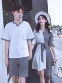 同色系情侶裝夏裝套裝2018新款韓版潮流短袖T恤男QLZ夏季.洋裝女
