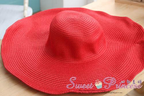泳衣配件  簡約風格大沿帽 - 盛夏出遊必備小物(紅色) -沁甜美姬