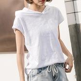 夏裝短袖連帽寬鬆竹節棉t恤女裝韓國新款半袖純棉休閒打底衫上衣 「雙10特惠」