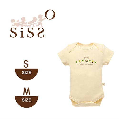 【SISSO有機棉】有機棉小熊短袖包屁衣(植物染) S~M