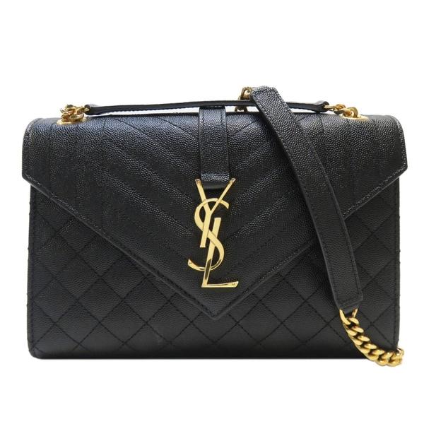 SAINT LAURENT YSL 聖羅蘭 黑色牛皮金色LOGO肩背斜背鏈條包 V Flap Bag 【BRAND OFF】