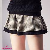 【SHOWCASE】格紋箱褶雙層配色褲裙(卡色)