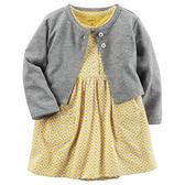 Carter's平行輸入童裝 女寶寶 短袖連衣裙洋裝&薄外套 黃菱格【CA121H744】
