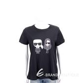 KARL LAGERFELD KARL x KAIA 圖案印花黑色棉質短T恤 1840571-01