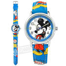 Disney 迪士尼 / MK-14003L / 米奇系列 造型錶帶 日本機芯 兒童錶 卡通錶 皮革手錶 白x藍 32mm