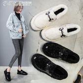 豆豆鞋 毛毛鞋女冬季一腳蹬平底加絨棉鞋懶人豆豆鞋瓢鞋 繽紛創意家居