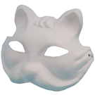 狐狸面具 空白面具 附鬆緊帶/一個入(定40) 彩繪面具 DIY面具 紙漿面具 白臉譜 歌劇魅影-AA6498