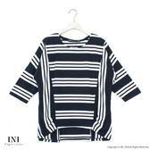 【INI】亮眼日常、條紋拼接變化寬袖上衣.黑色