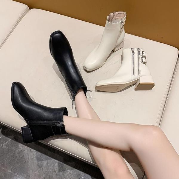 馬丁靴女春秋單靴2020新款ins網紅瘦瘦鞋粗跟中跟側拉鏈時尚短靴 3C數位百貨