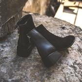 小短靴女2019新款春秋百搭網紅瘦瘦靴粗跟中跟踝靴平底短筒靴子女