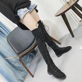 長靴 過膝長靴子長筒彈力靴內增高透氣平底鞋膝上靴 巴黎春天