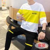 青少年T恤男新款春夏韓版潮流七分袖短袖學生休閒衣服一套裝 小時光生活館