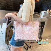 托特包 包包女2019新款韓版潮大容量透明果凍ins新款手提單肩大包 3色