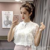 2019春夏新款韓版蕾絲花邊拼接短款開衫無袖冰絲針織衫背心上衣女『韓女王』