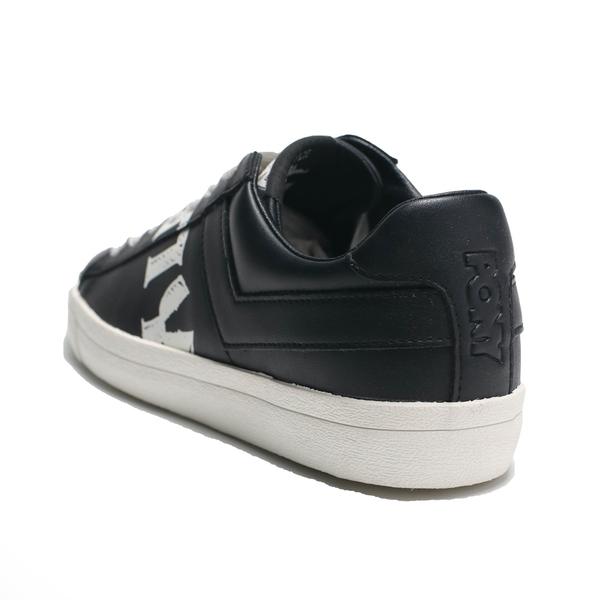 PONY 休閒鞋 黑 皮革 鞋身大LOGO 英文字 女 (布魯克林) 91W1TS05BK