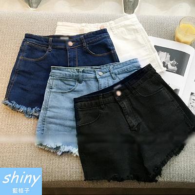 【V0073】shiny藍格子-簡著實搭.時尚修身高腰毛邊牛仔短褲