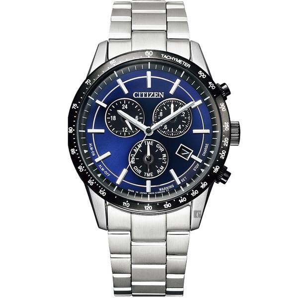 CITIZEN 星辰 萬年曆計時手錶-藍/39.5mm(BL5496-96L)