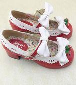 加軟日系森女lolita洛麗塔草莓鈴鐺圓頭粗跟蝴蝶結女單鞋