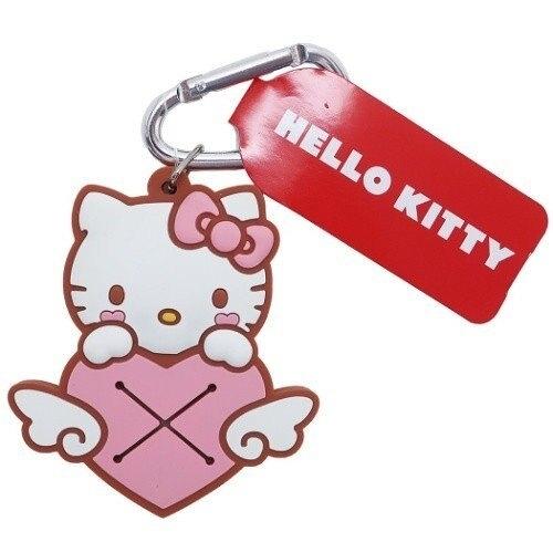 小禮堂 Hello Kitty 鑰匙圈 矽膠吊飾 鎖圈 掛飾 毛巾夾 毛巾收納 (粉棕 愛心) 4548643-14297