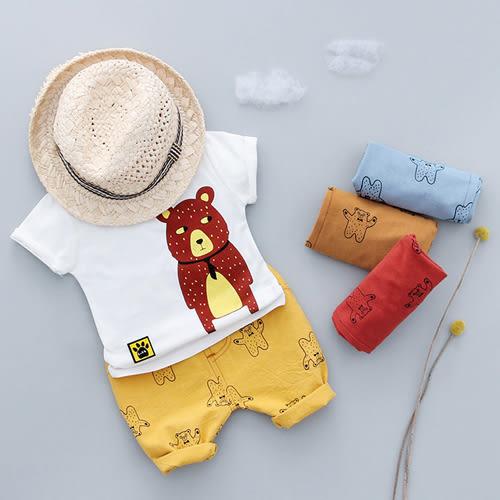 短袖套裝 男童領帶小熊印花套裝 S76041 AIB小舖