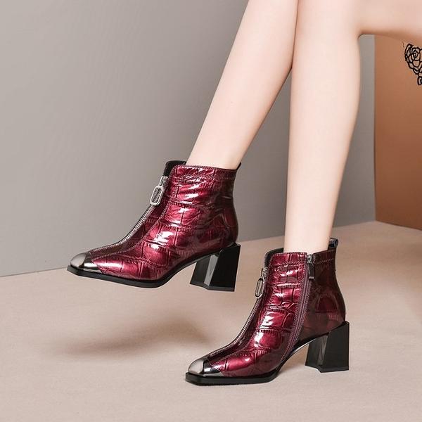 真皮女鞋2019新款牛漆皮圓頭馬丁靴 前拉鍊低跟短靴~2色