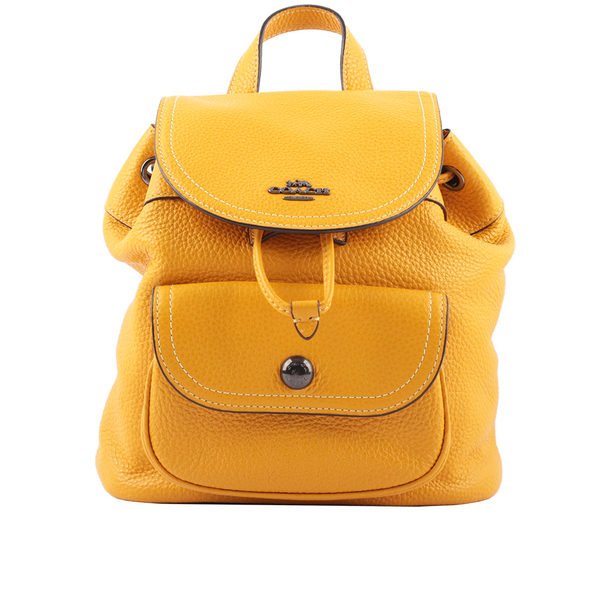 【COACH】Pennie 新款口袋後背包(黃棕色) C4121 QBRM1