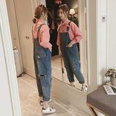 連身褲 ins超火的吊帶褲女2019新款韓版寬鬆小個子連身褲網紅破洞牛仔褲 茱莉亞