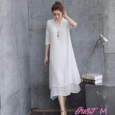 棉麻洋裝素色雙層長裙夏民族風女裝裙子寬鬆棉麻五分袖仙女連身裙 有腰帶 JUST M
