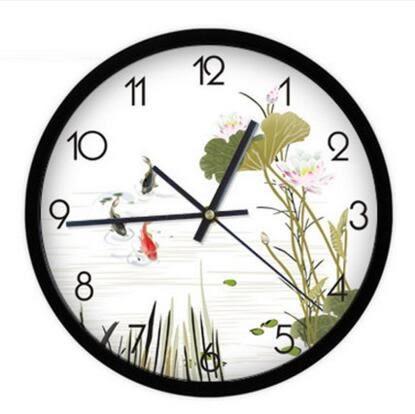 雅刻麗水墨藝術創意時尚中式田園鐘錶時鐘宜家客廳掛鐘靜音石英鐘(12英吋)