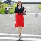 大尺碼洋裝 L-5XL 蝴蝶結V領收腰顯瘦連衣裙 #wm1213 @卡樂@