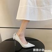 單鞋女年新款尖頭網紅秋冬性感設計感小眾黑色細跟高跟鞋秋季 蘇菲小店