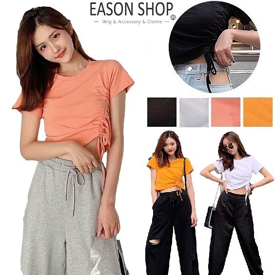 EASON SHOP(GW9845)韓版純色短版露肚臍側邊拉皺蝴蝶結綁繩圓領短袖素色棉T恤女上衣服寬鬆打底內搭衫