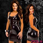 派對用品 睡衣推薦 虐戀精品CICILY-誘惑遊戲 塗膠漆皮性感彈力緊身裙-黑 聖誕節
