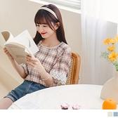 日系格紋雕花蕾絲雪紡上衣 OrangeBear《AB15453》