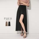 PUFII-褲裙 鬆緊腰前開衩中長褲裙-...