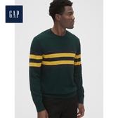 Gap男裝 撞色條紋圓領套頭針織上衣474785-綠色條紋