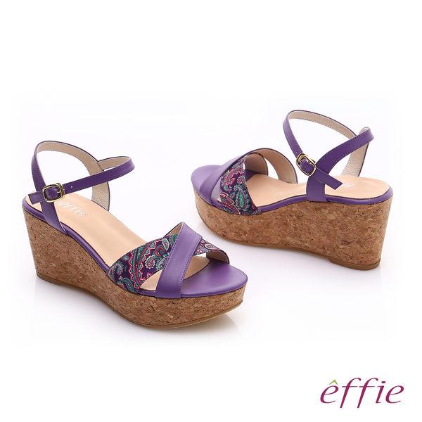 effie 摩登美型 真皮拼接民俗風布料楔型涼鞋  紫